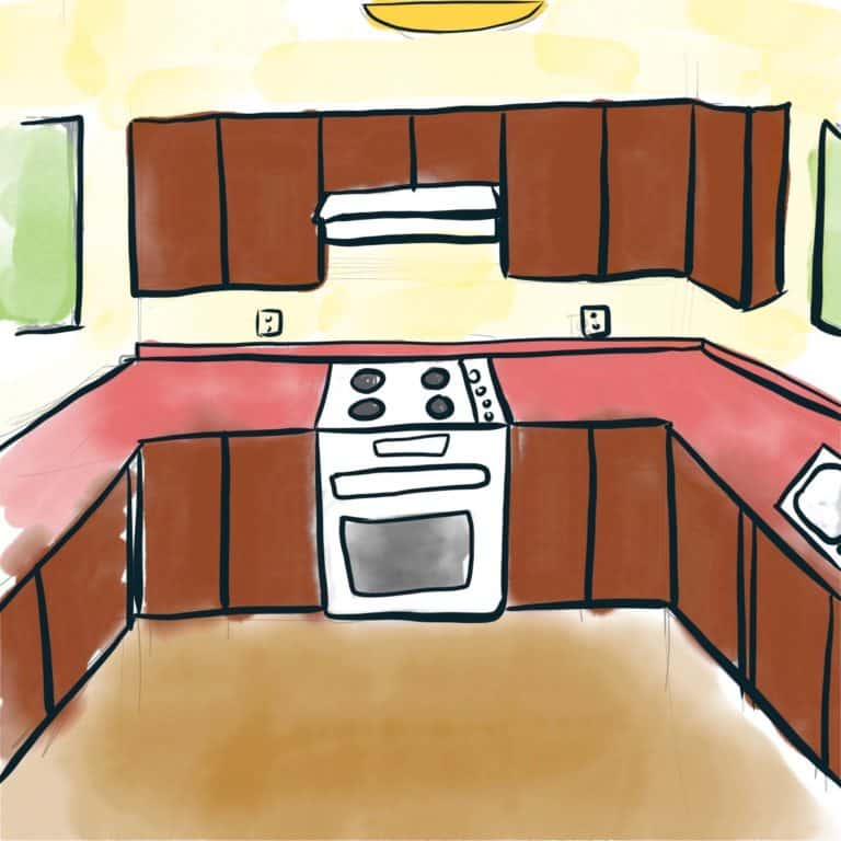 A watercolor painting of a kitchen