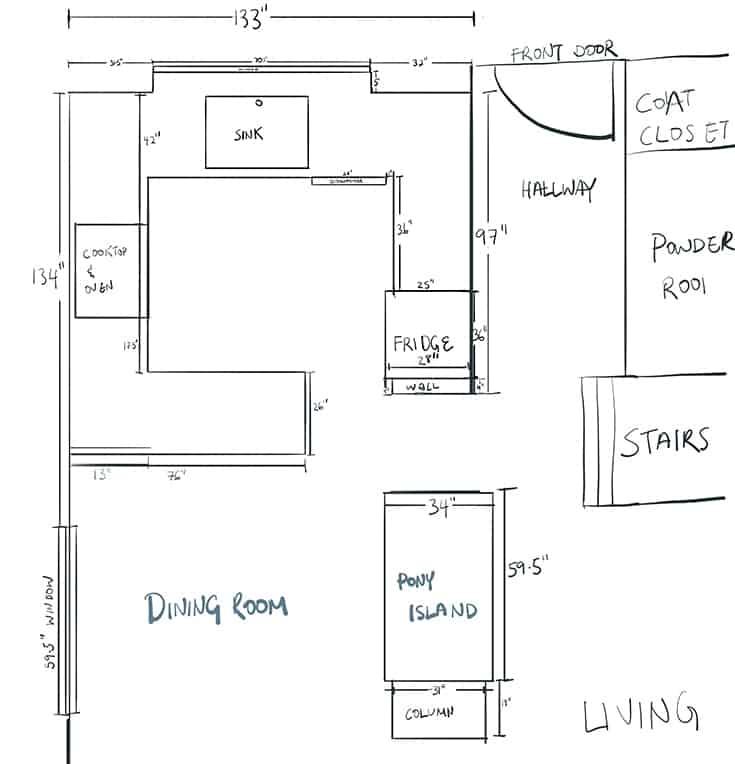 2D layout of my kitchen floor plan