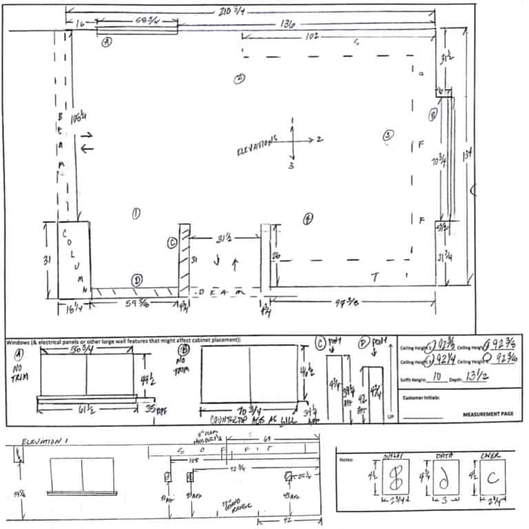 Professionally drawn 2D layout of my kitchen floor plan