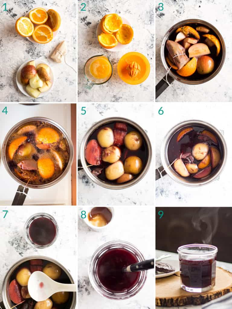 A collage of 9 images to show the process of making mulled wine (glühwein)