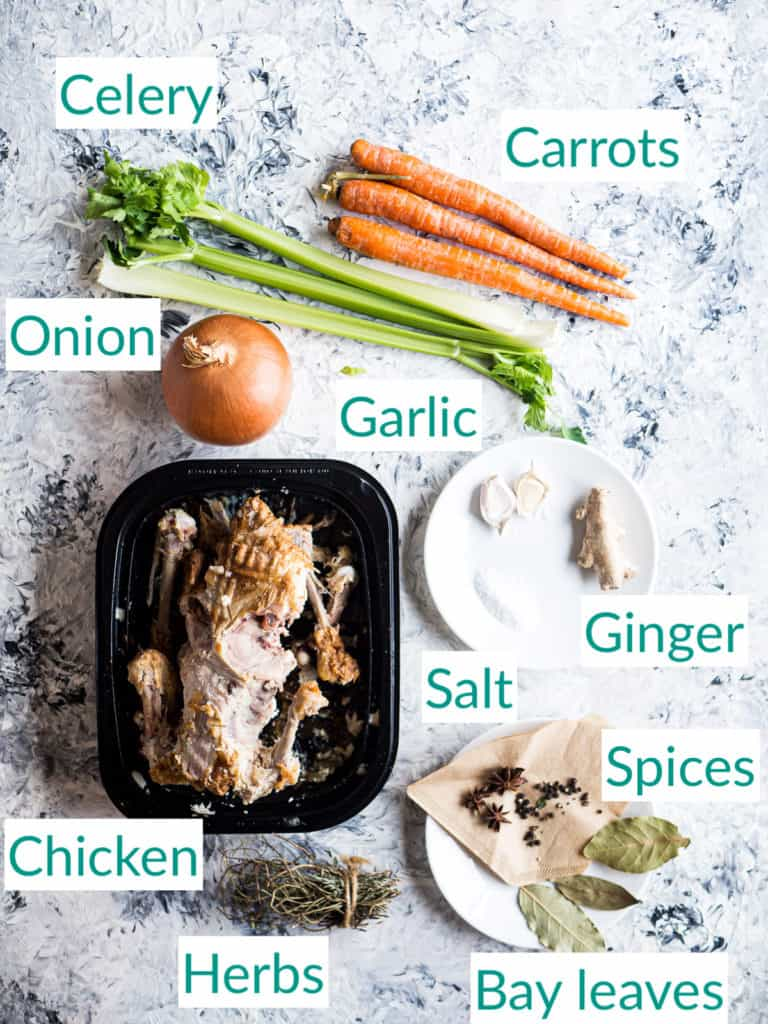 All the ingredients for creating chicken stock