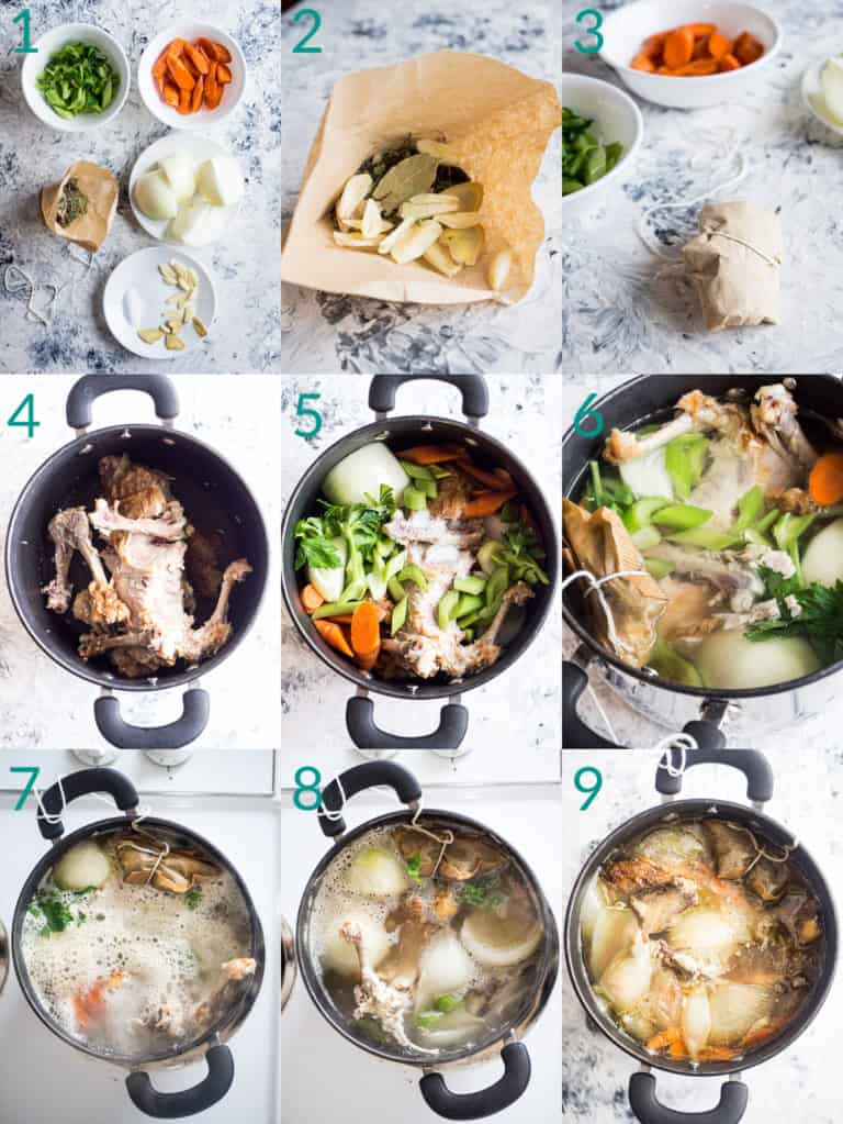 A collage of 9 images showing how to make chicken broth