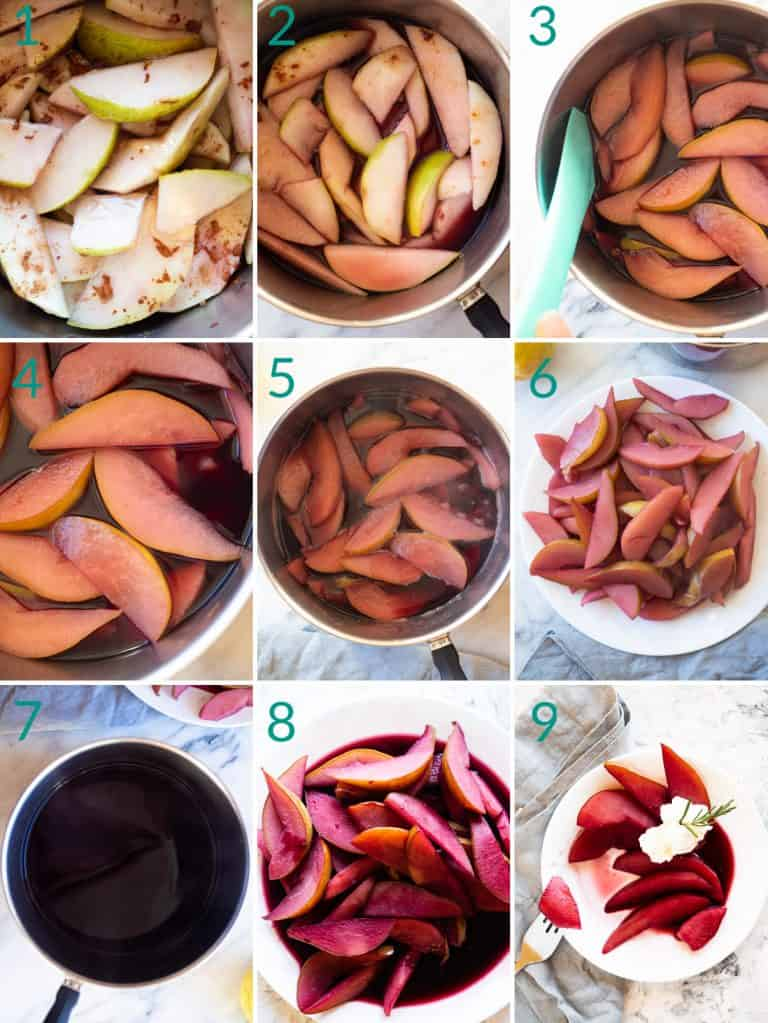 A collage of 9 images showing how to poach pears and cook down the syrup