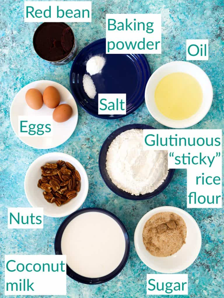 The ingredients for making red bean glutinous rice cake