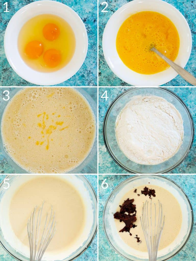A collage of 6 images showing how to mix the wet and dry ingredients to make the red bean glutinous rice cake