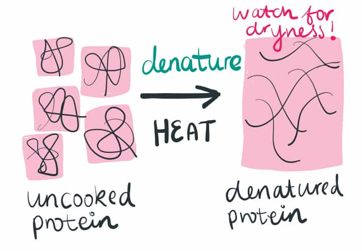 A diagram showing proteins as they denature because heat is applied during cooking