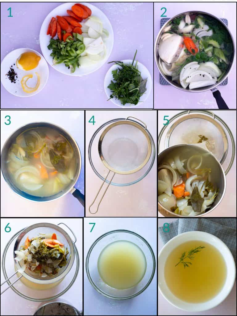 A collage of 8 images showing how to cook court bouillon
