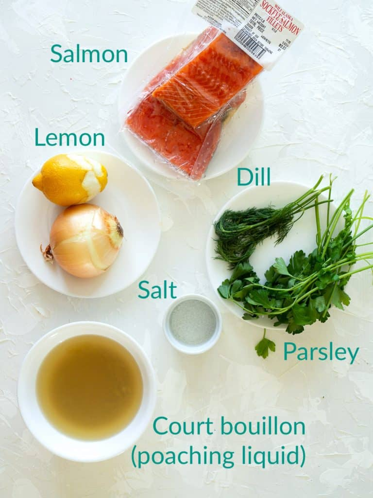The ingredients for poaching salmon