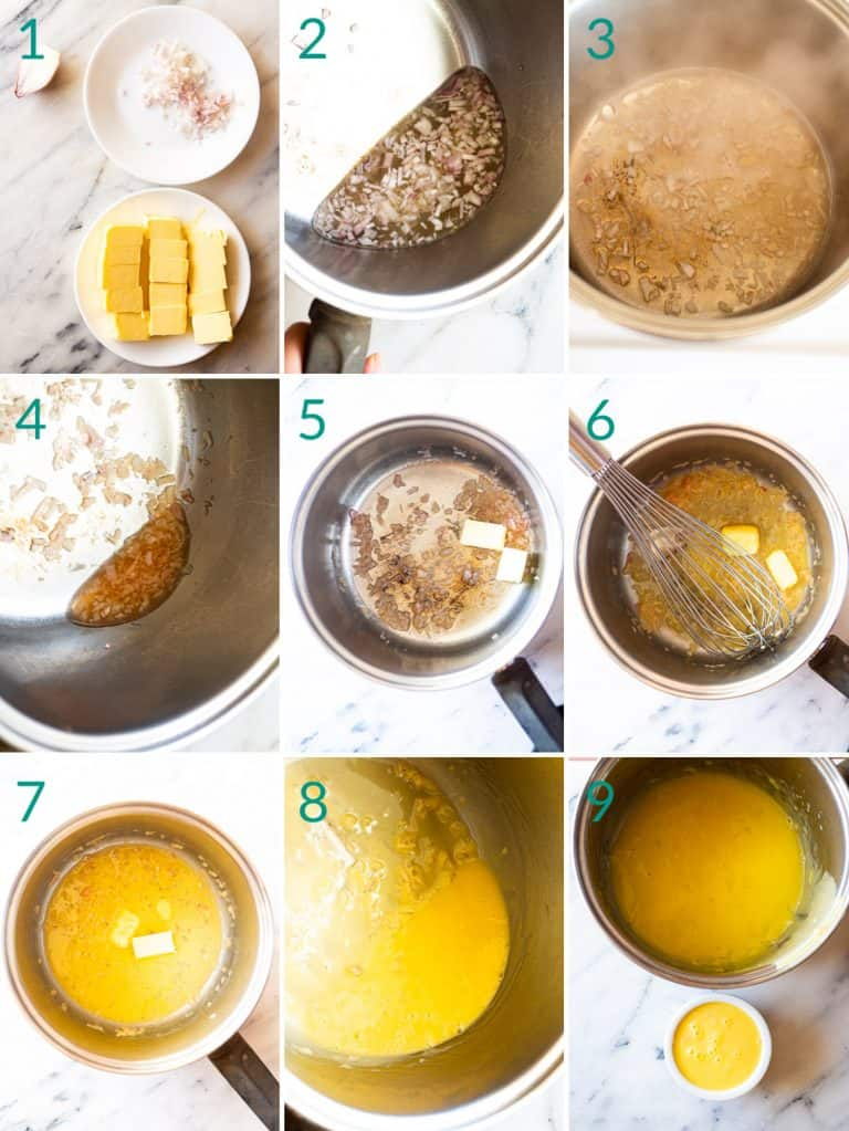 A collage of 9 images showing how to make beurre blanc sauce