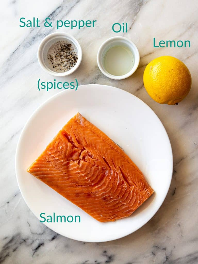 Ingredients needed for broiling salmon