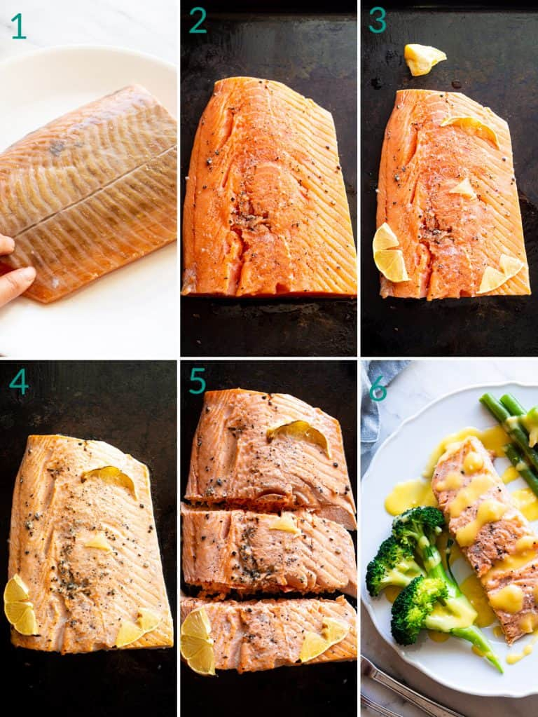 A collage of 6 images showing how to broil salmon
