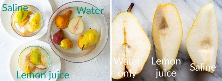 3 containers of cut pears in water, in lemon juice and water, and saline to prevent browning