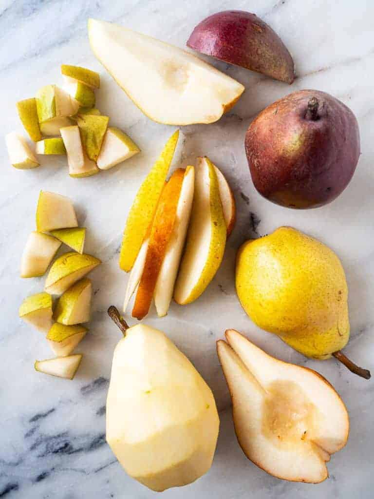 8 different types of cuts for pears compared side-by-side