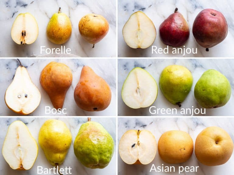 A collage of 6 images showing different pears (foresee, red anjou, bosc, green anjou, bartlett, Asian pears)