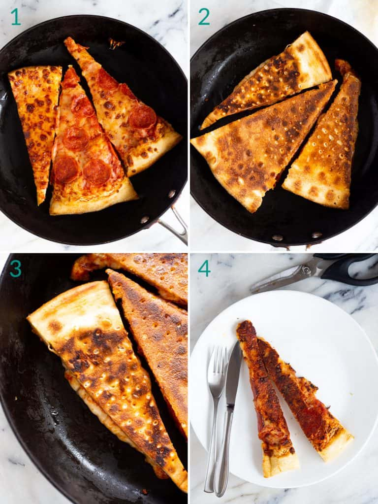 A collage of 4 images showing how to reheat pizza in a skillet