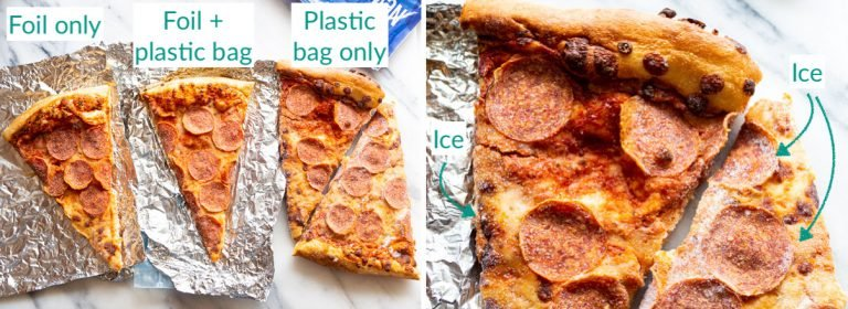 A triptych showing what frozen pizza looks like