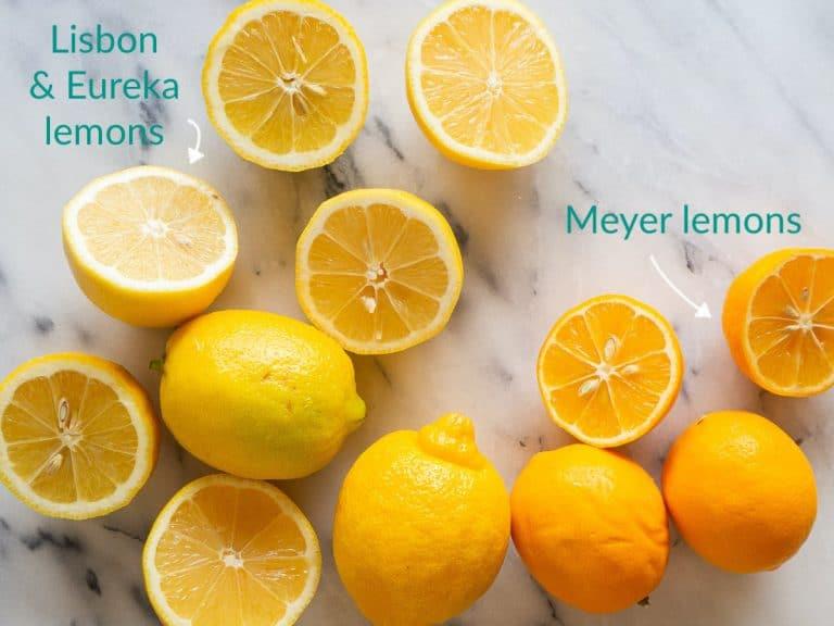 Cut Lisbon, Eureka, and Meyer lemons compared side-by-side