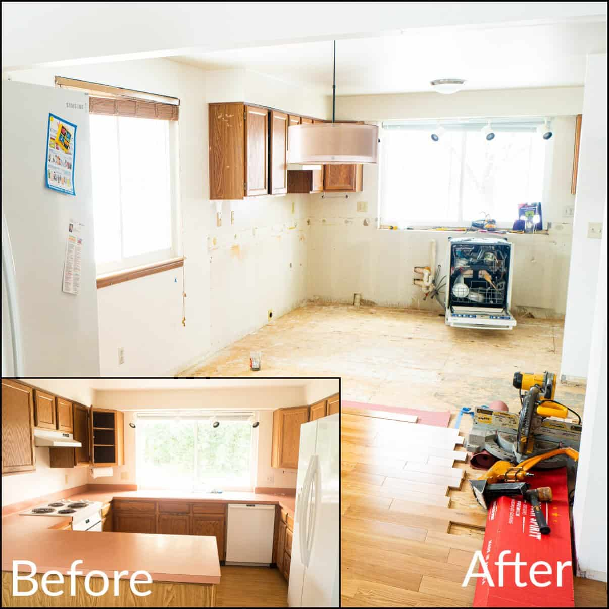 Before and after image of the kitchen demolition
