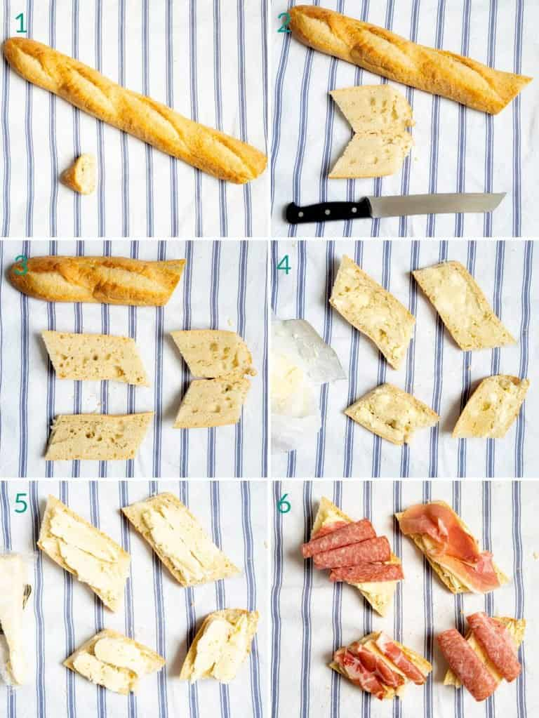 A collage of 6 images showing how to make a prosciutto and brie baguette open-faced sandwich