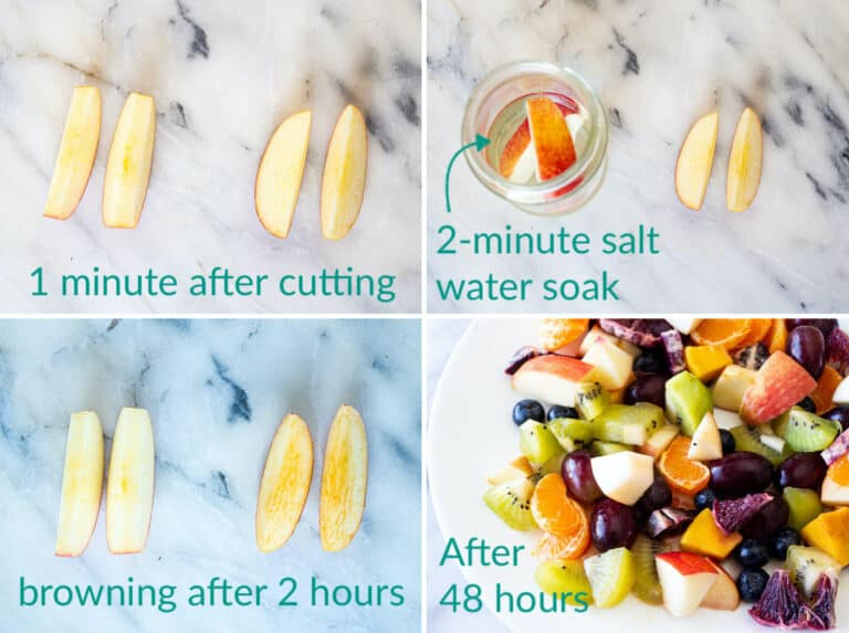 A collage of 4 images showing how to use a saline soak to prevent apples from browning