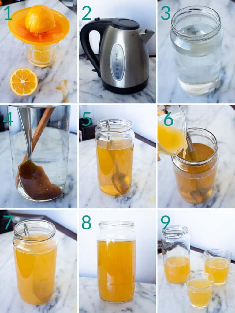 Instructions for making lemon honey water