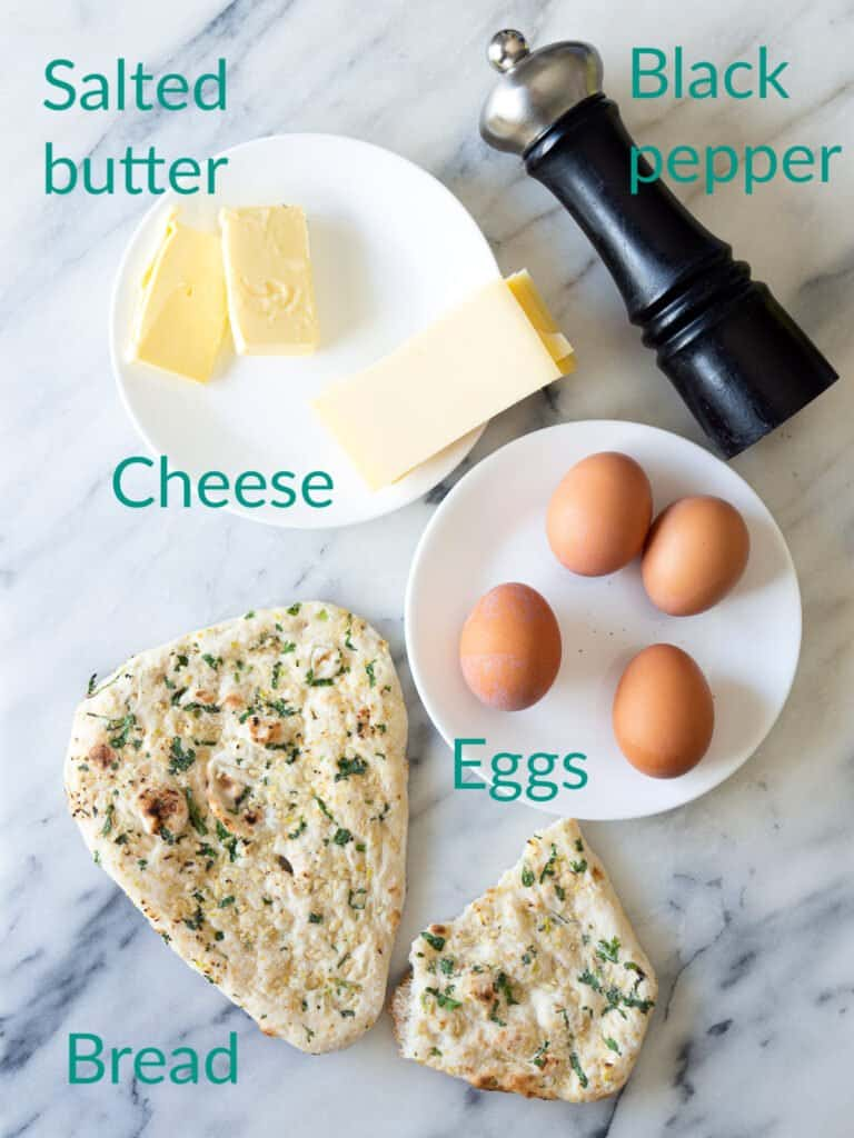 Ingredients for a pan-fried one-pan egg sandwich