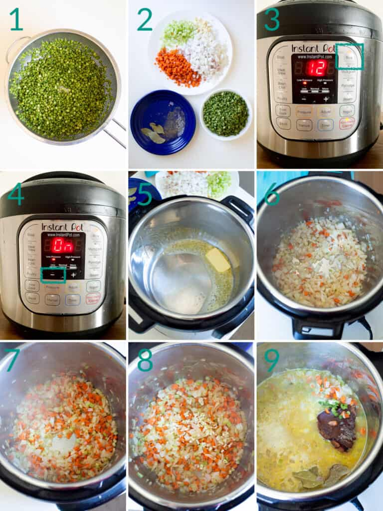 A collage of 9 images showing how to prepare and sweat aromatic vegetables for split pea soup