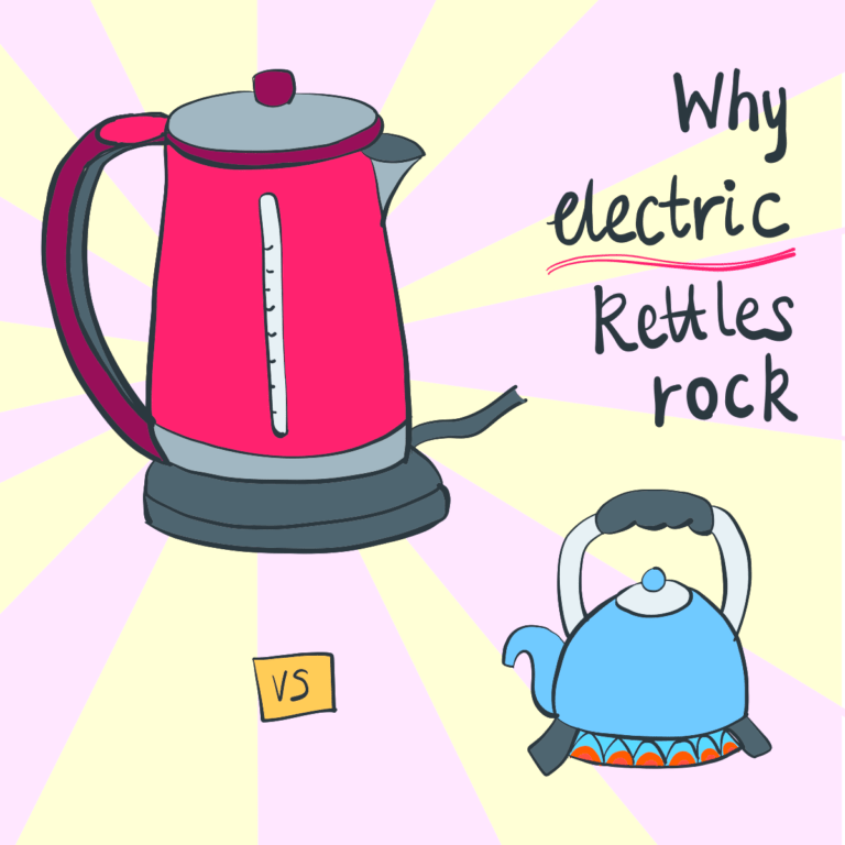 An illustration of an electric kettle compared to a gas kettle