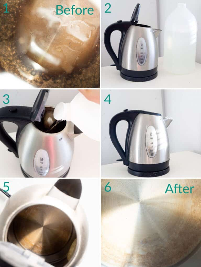 A collage of 6 images showing how to descale a kettle