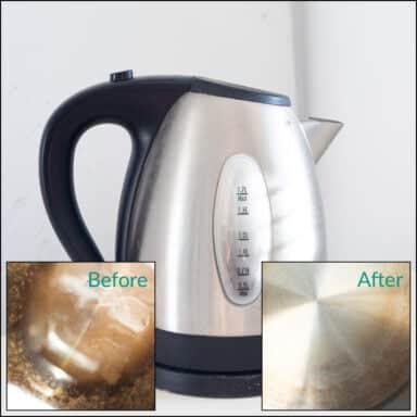 Compare the kettle's base before cleaning and after descaling