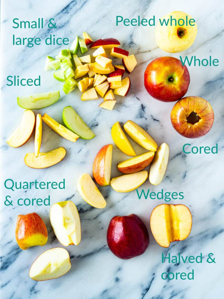 Different cuts for apples compared side-by-side
