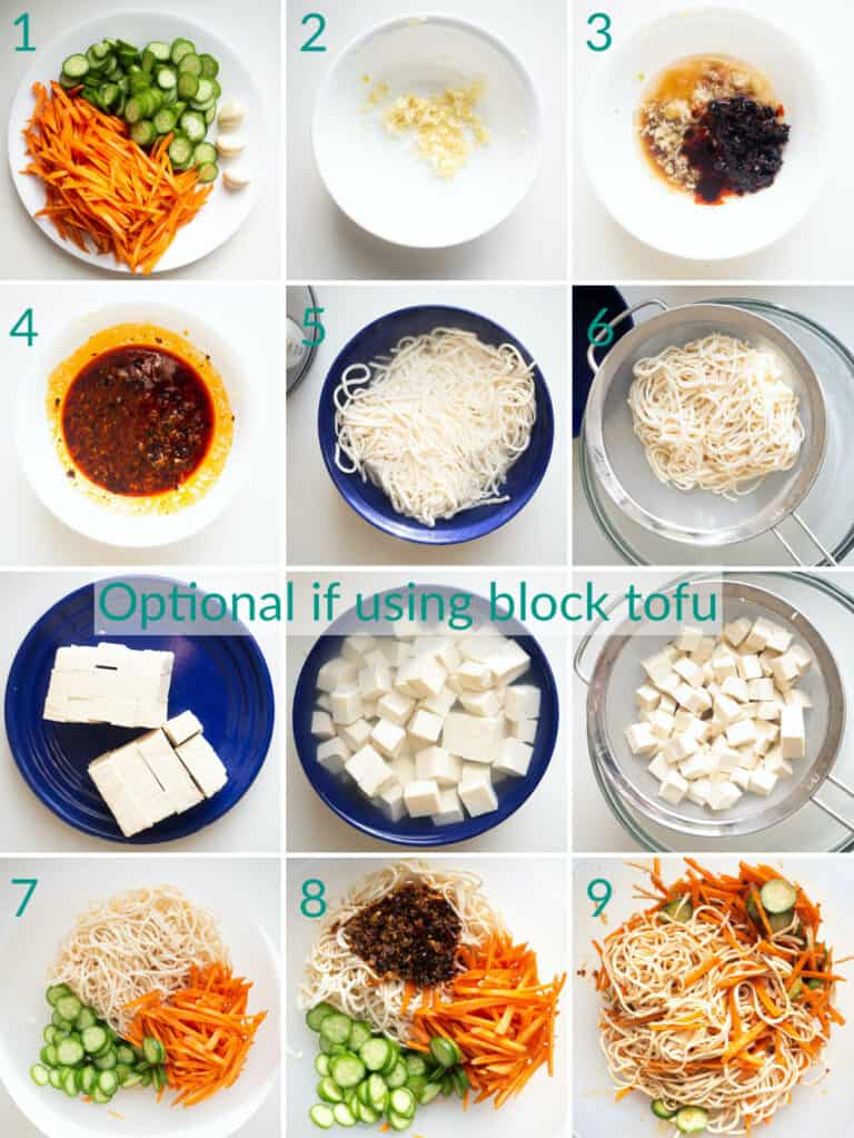 A collage of 12 images showing how to make tofu salad with cucumbers and carrots