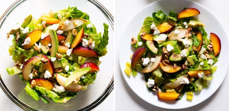1 bowl and a plate of summer salad with peaches, romaine lettuce, walnuts, avocados, and goat cheese