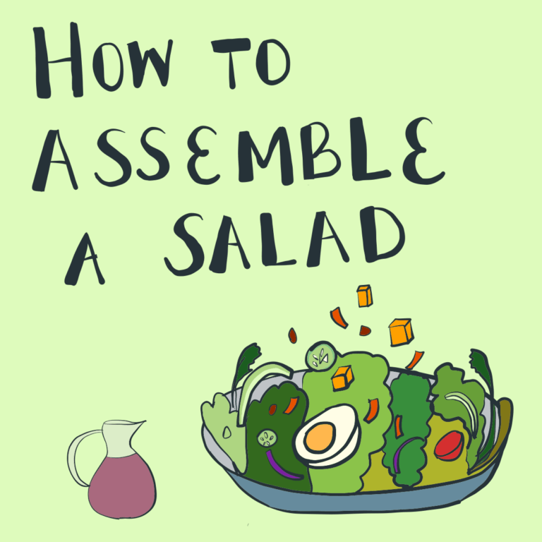"""An illustration showing a bowl of salad with the text """"How to Assemble a Salad"""""""