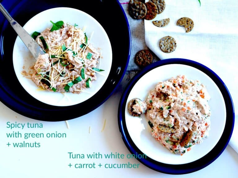 2 plates of tuna salad with different flavors side-by-side