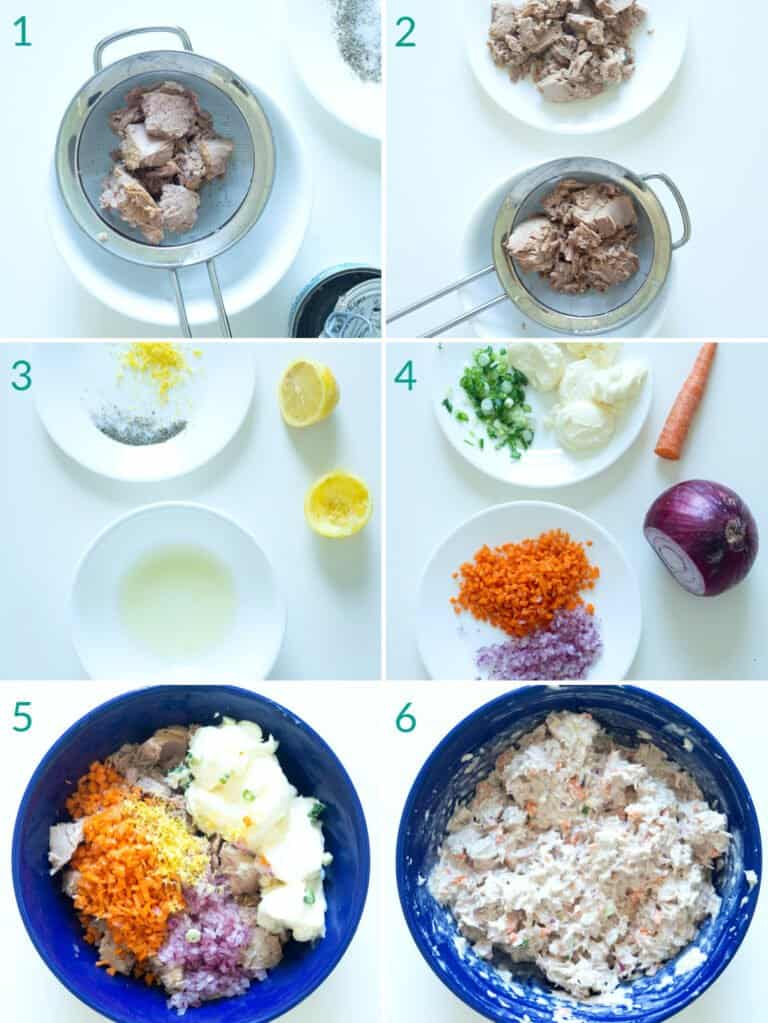 A collage of 6 images showing how to prepare tuna salad