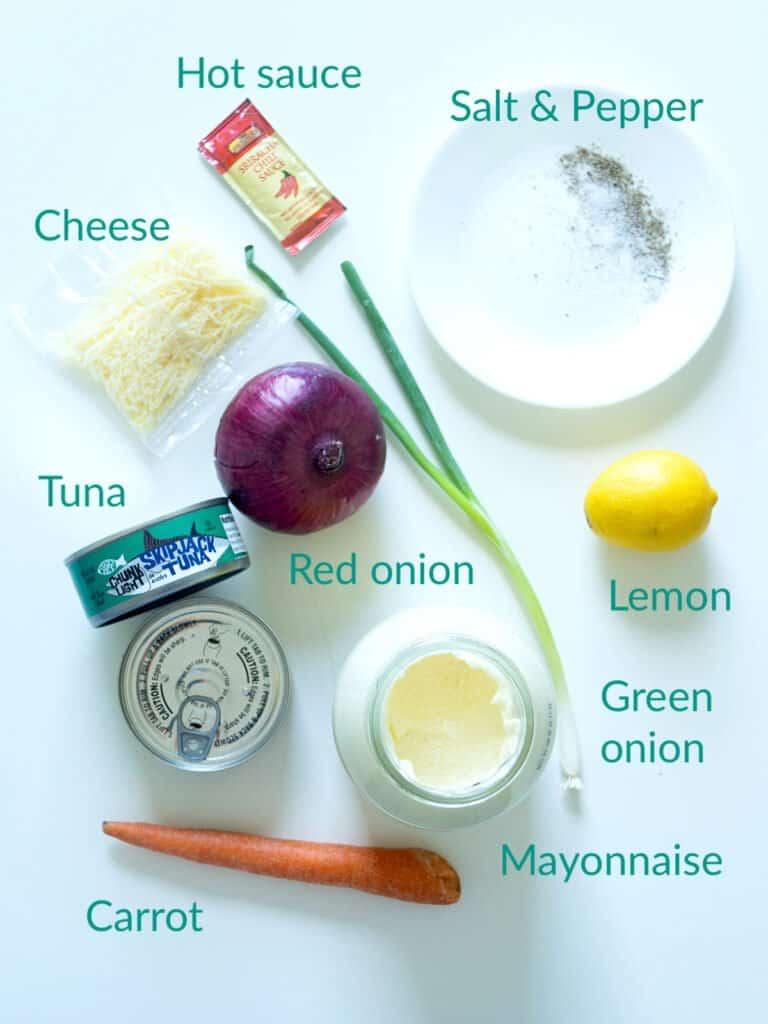 Ingredients for making tuna salad