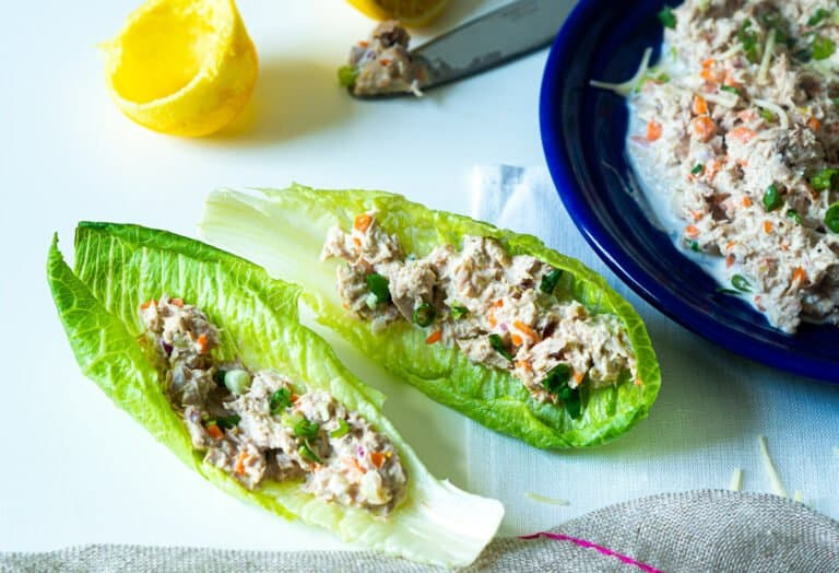 Lettuce cups with tuna salad