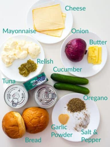 Ingredients for making a tuna melt sandwich