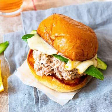 Close up view of a tuna melt sandwich