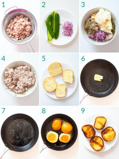 A collage of 9 images showing how to prepare tuna salad to make a tuna melt