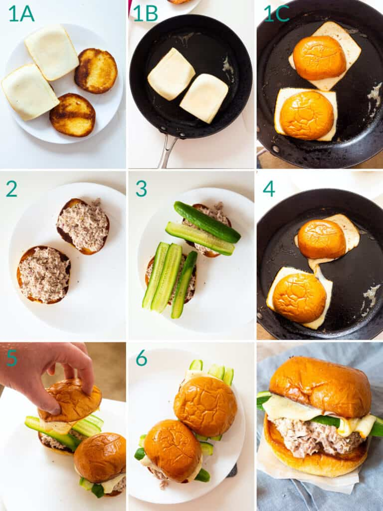 A collage of 9 images showing how to assemble a tuna melt