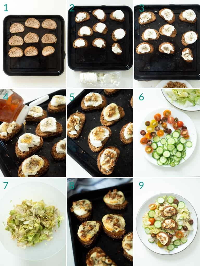 A collage of 9 images showing how to assemble a salade de chèvre chaud (warm French salad with toasted goat cheese)