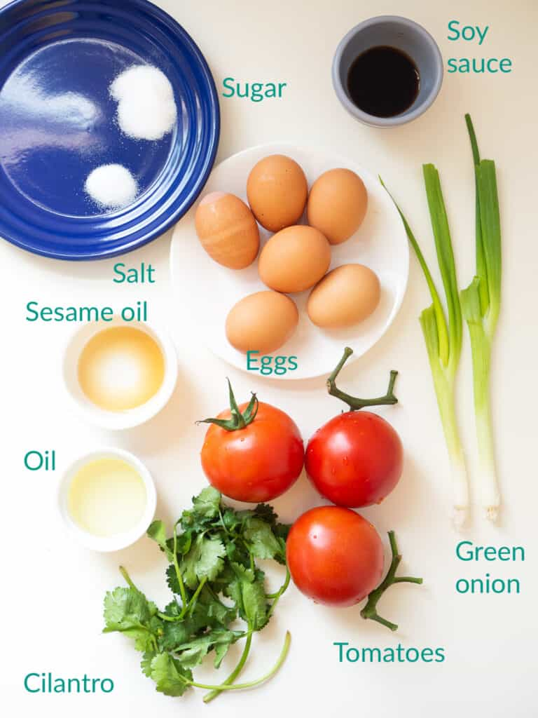 Ingredients for making Chinese tomato and egg stir fry recipe