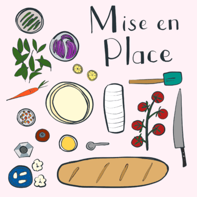 An illustration showing prepped ingredients and equipment in mise en place