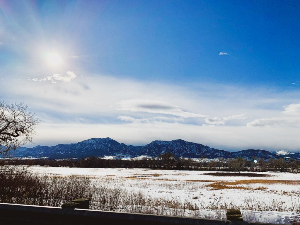 Mountains in Boulder and Gunbarrel with snow and blue skies