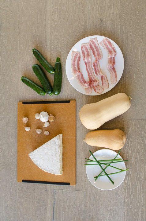 Butternut Zucchini Bacon Brie Gratin ingredients