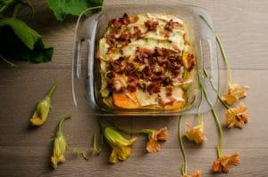 Garlic Butternut Squash & Zucchini Gratin