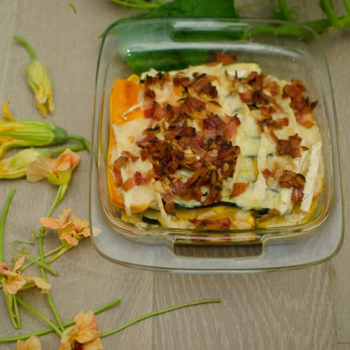 Butternut Zucchini Bacon Brie Gratin