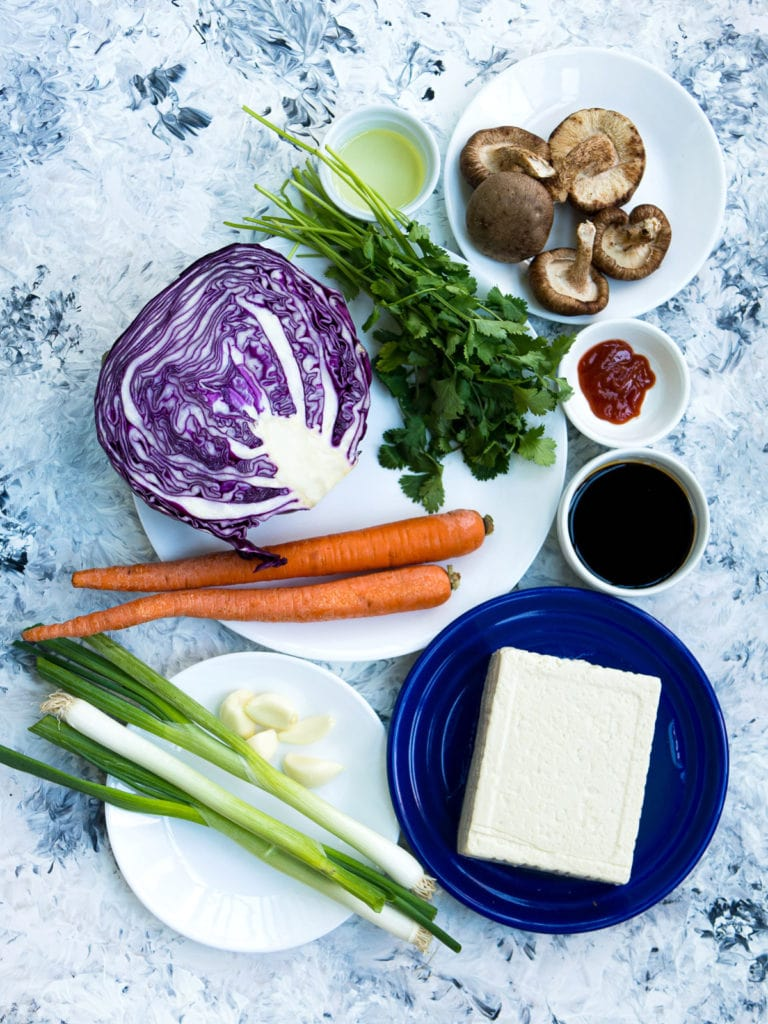All the ingredients for cabbage, carrot, mushroom, and tofu stir fry